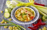 Куриный суп с овощами и макаронами