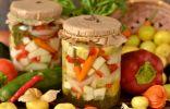 Маринованные кабачки с луком, перцем и физалисом