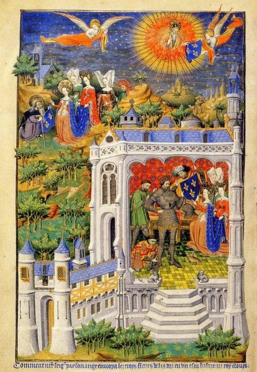 Фото страницы книги Часослов, иллюстрирующая легенду короля Хлодвига который получает цветок лилии