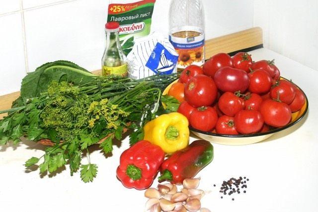 Ингредиенты для приготовления маринованных томатов