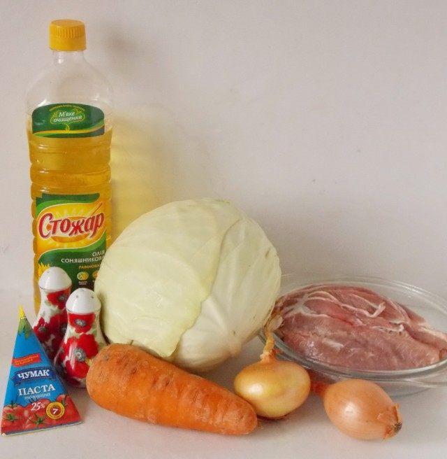 Ингредиенты для тушёной капусты с мясом