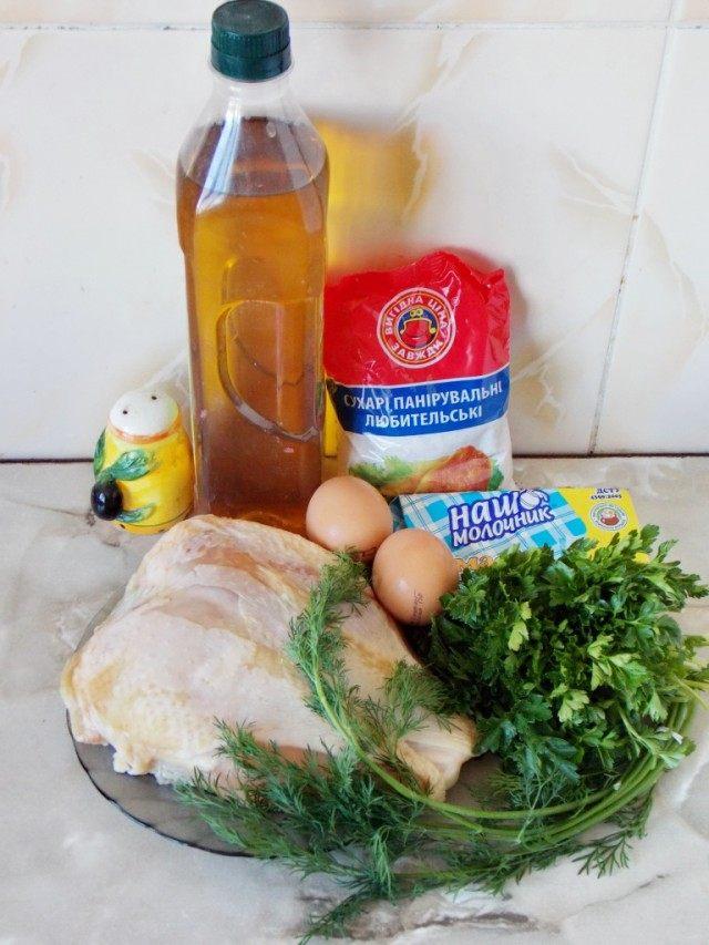 Ингредиенты для приготовления котлет по-киевски