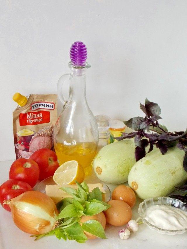 Ингредиенты для приготовления кабачкового блинного торта