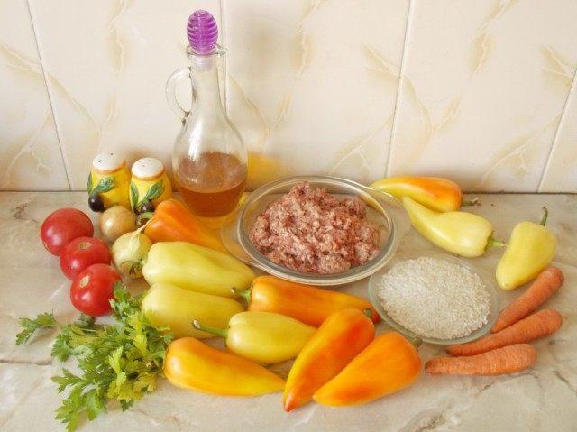 Ингредиенты для приготовления фаршированных перцев