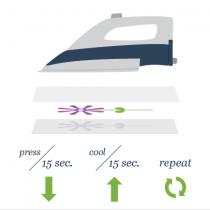 Поставьте утюг на 15 секунд на верхний лист бумаги