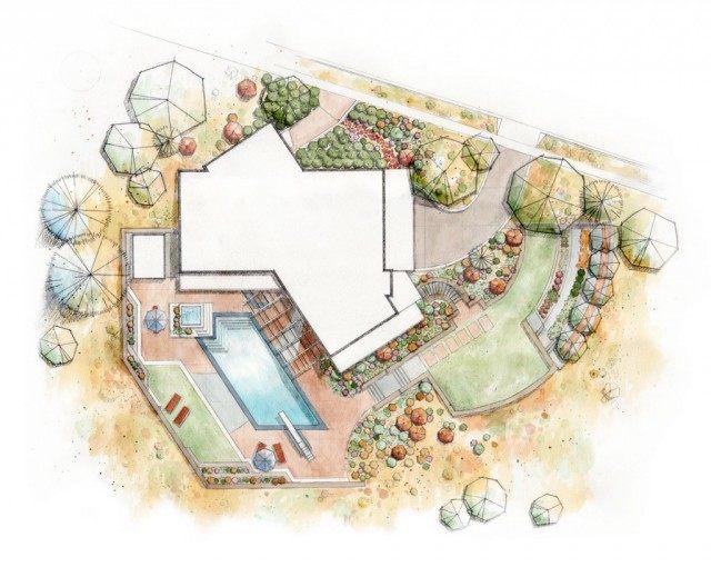 Эскиз ландшафтного дизайна участка