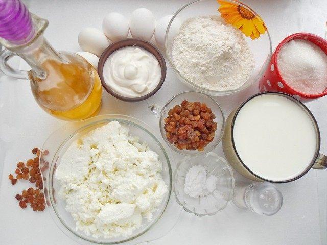 Ингредиенты для приготовления налистников с творогом