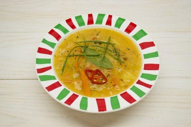 Готовый суп разливаем в тарелки