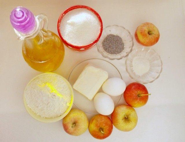 Ингредиенты для приготовления яблочного пирога с маком