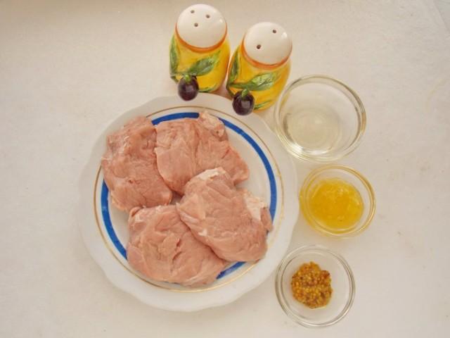 Ингредиенты для приготовления медальонов из свинины с медово-горчичным соусом