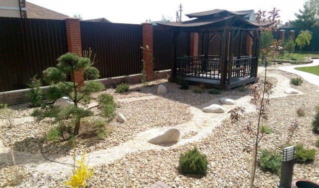 Оформление площадки гравием вместо газона