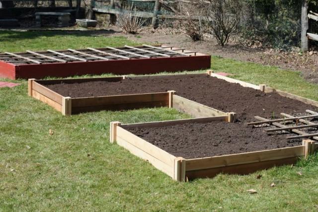 Подготовленные высокие грядки для весеннего посева семян овощей