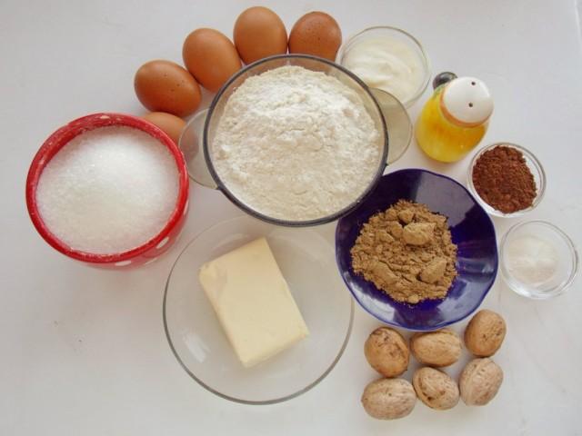 Ингредиенты для приготовления орехово-шоколадного кекса
