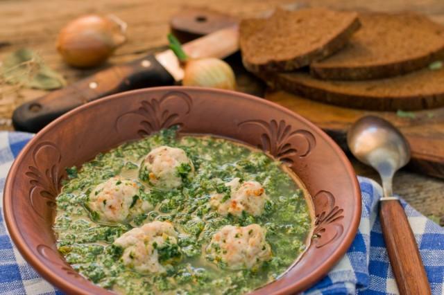 Суп со шпинатом с фрикадельками