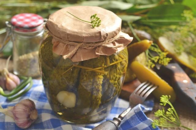 Огурцы маринованные с горчицей и чесноком