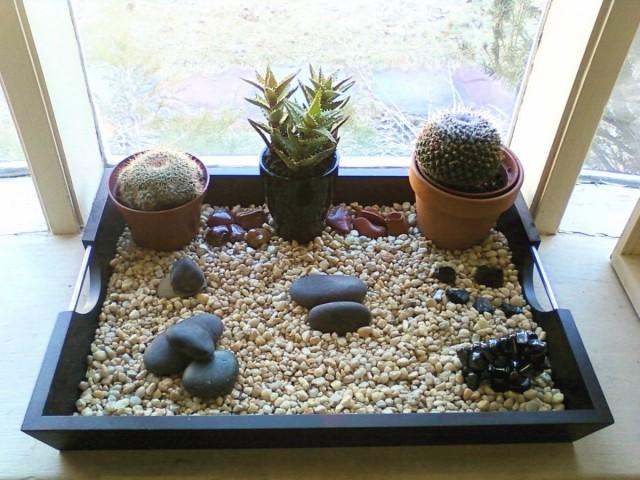 Переносной каменный сад легко организовать своими руками