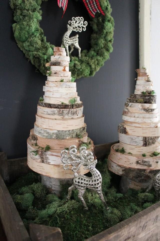 Ёлки из деревянных спилов