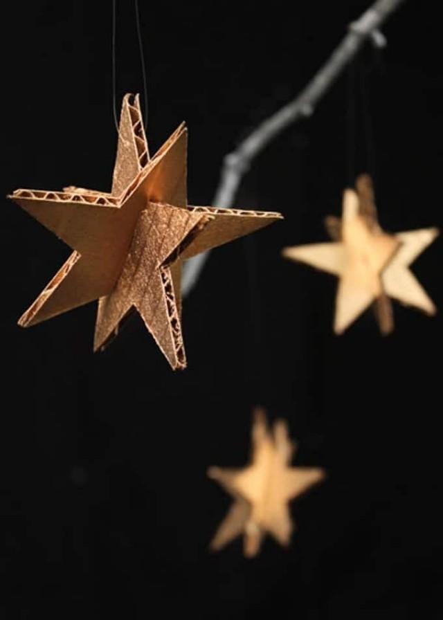 Звёзды на ёлку из картона