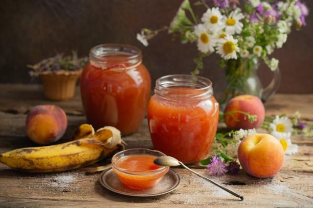 Персиковый джем с бананами — быстрый джем с пектином