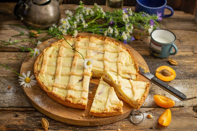 Нежный творожный пирог с абрикосами