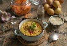 Густой чечевичный суп с рисом