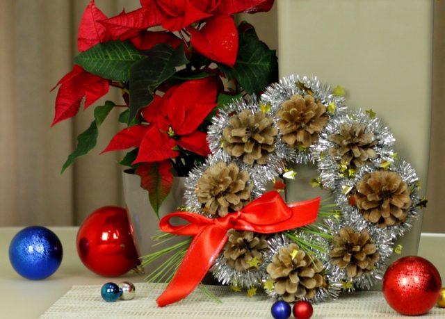 Простой новогодний веночек из шишек своими руками
