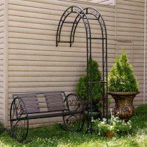 Композиция из скамейки, вазонов и арки для цветов