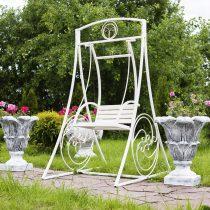 Садовые белые металлические качели